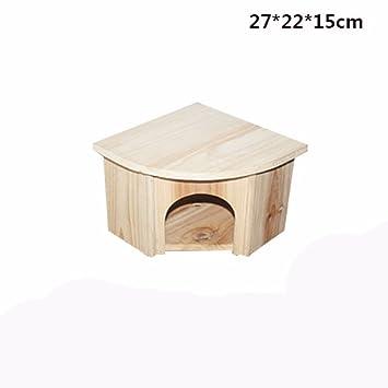 Pet Online Casetas de animales de compañía hamsters cabañas de madera europeas juguetes casas de hámster accesorios para jaulas de animales pequeños: ...