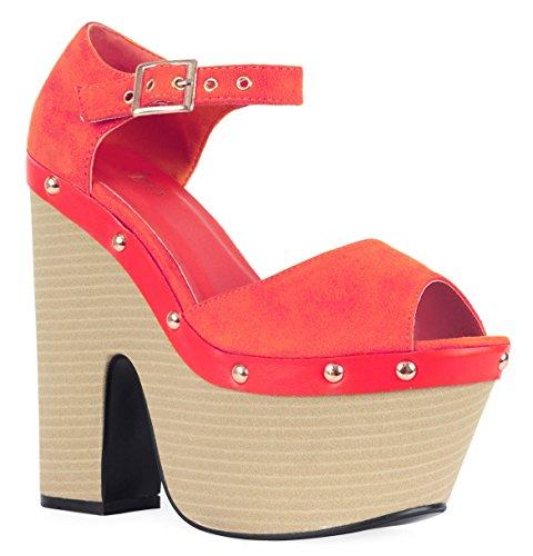Ladies Cut Out Wedge High Heel Stud Peeptoe Platform Sandal Women Shoes Size 3-8 Fushia