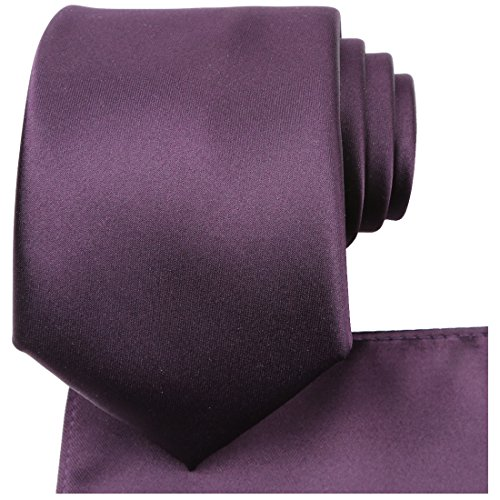 KissTies Plum Tie Set Purple Satin Wedding Ties + Pocket Square + Gift Box