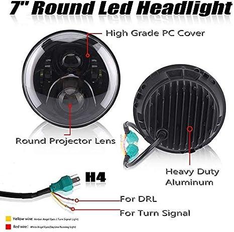 wansosuper Laufen Tagfahrlicht LED Fahren DRL Scheinwerfer 7inch Wei/ß High Low Beam-Halo-Ring Winkel-Augen DRL Signal-Projektor-Licht RHD F/ür Defender Schalten 90 110 Scheinwerfer,110W