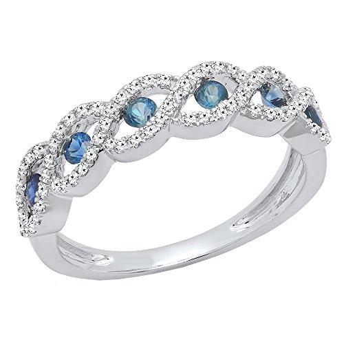(Dazzlingrock Collection 14K Round Blue Sapphire & Diamond Ladies Bridal Anniversary Wedding Band, White Gold, Size 7 )
