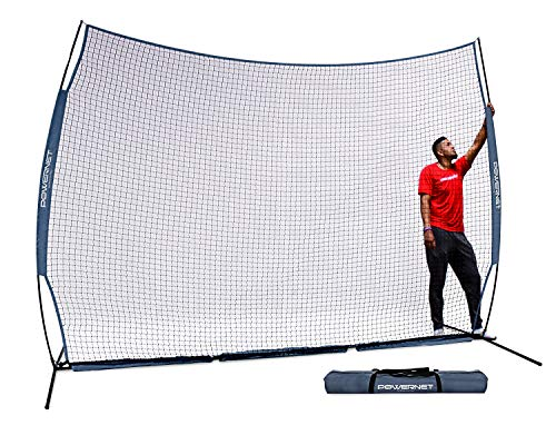 PowerNet 12 ft x 9 ft Sports Barrier Net | 108 SqFt of Protection | Safety Backstop | Portable EZ Setup Barricade for Baseball, Lacrosse, Basketball, Soccer, Field Hockey, Softball (Navy)