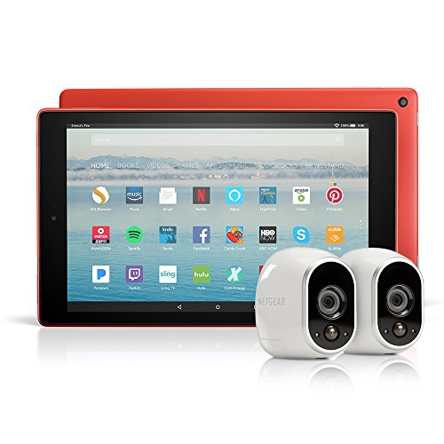 All-New Fire HD 10 Tablet with Alexa Hands-Free, 64 GB, with Special Offers (Punch Red) + Arlo Security System by NETGEAR