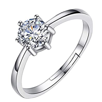 411fe77044ec Trifycore Mujer anillo de compromiso 925 de dirección del corte redondo  anillo de compromiso de zafiro blanco  Amazon.es  Joyería