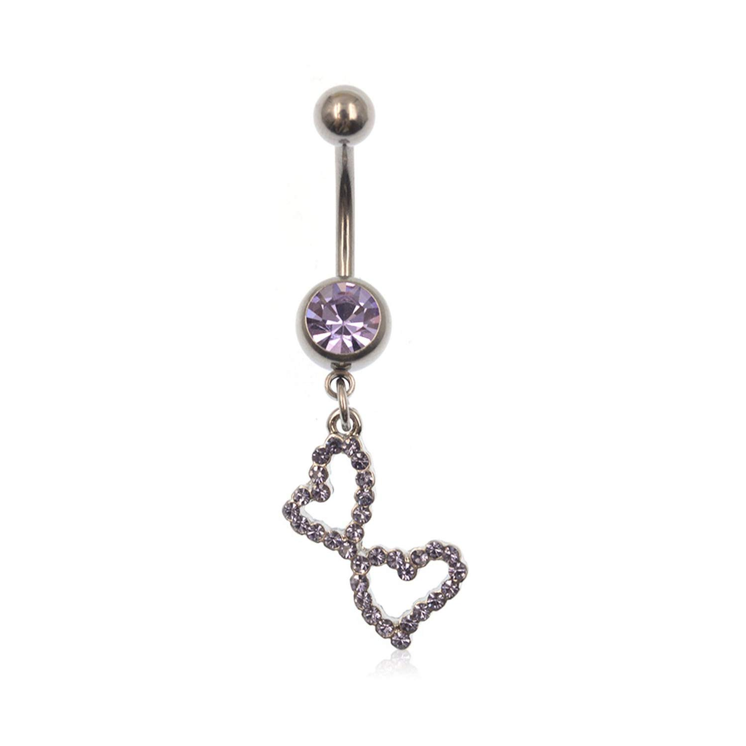 Purple Double Heart Inlay Rhinestone Dangle Navel Belly Button Rings Piercing Jewelry Steel