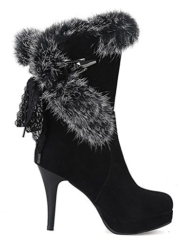 Fourrure Fourrure Easemax Aiguille Aiguille Bottines Talon Fashion Easemax Femme Talon Noir Fashion Femme qTn8twISx4