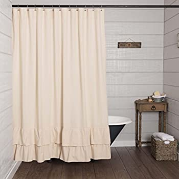 Piper Classics Ruffled Chambray Natural Shower Curtain 72x72 Farmhouse Style