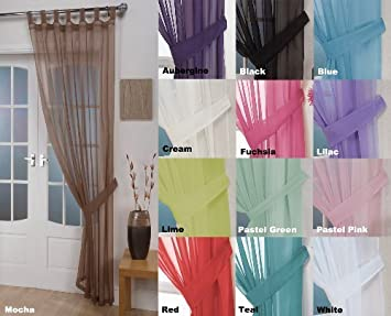 Woven Voile Tab Top Curtain Panels - Free Tieback Included (Mocha ...