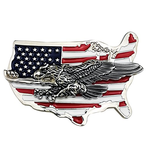 LAXPICOL New Fashion Cool Heavy American Flag Eagle Map Belt Buckle For Men Silver Tone