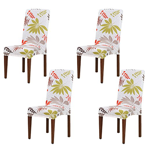 Dining Chair Slipcovers Universal Stretch Seat Cover Protector Removable Fabric Coverings Washable Spandex Chaircase for Hotel, Banquet, Wedding, Party, Restaurant, Home Dinner Décor, Set of 4 PCS (B) by Yesurprise
