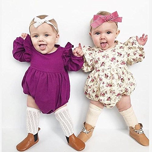 db3c91535978 Amazon.com  BiggerStore Infant Baby Girl Twins Long Sleeve Ruffles Romper  Bodysuit Outfit Clothes  Clothing
