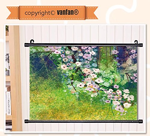 vanfan Wall Scroll Poster- Flower Traditional Japanese Cherr