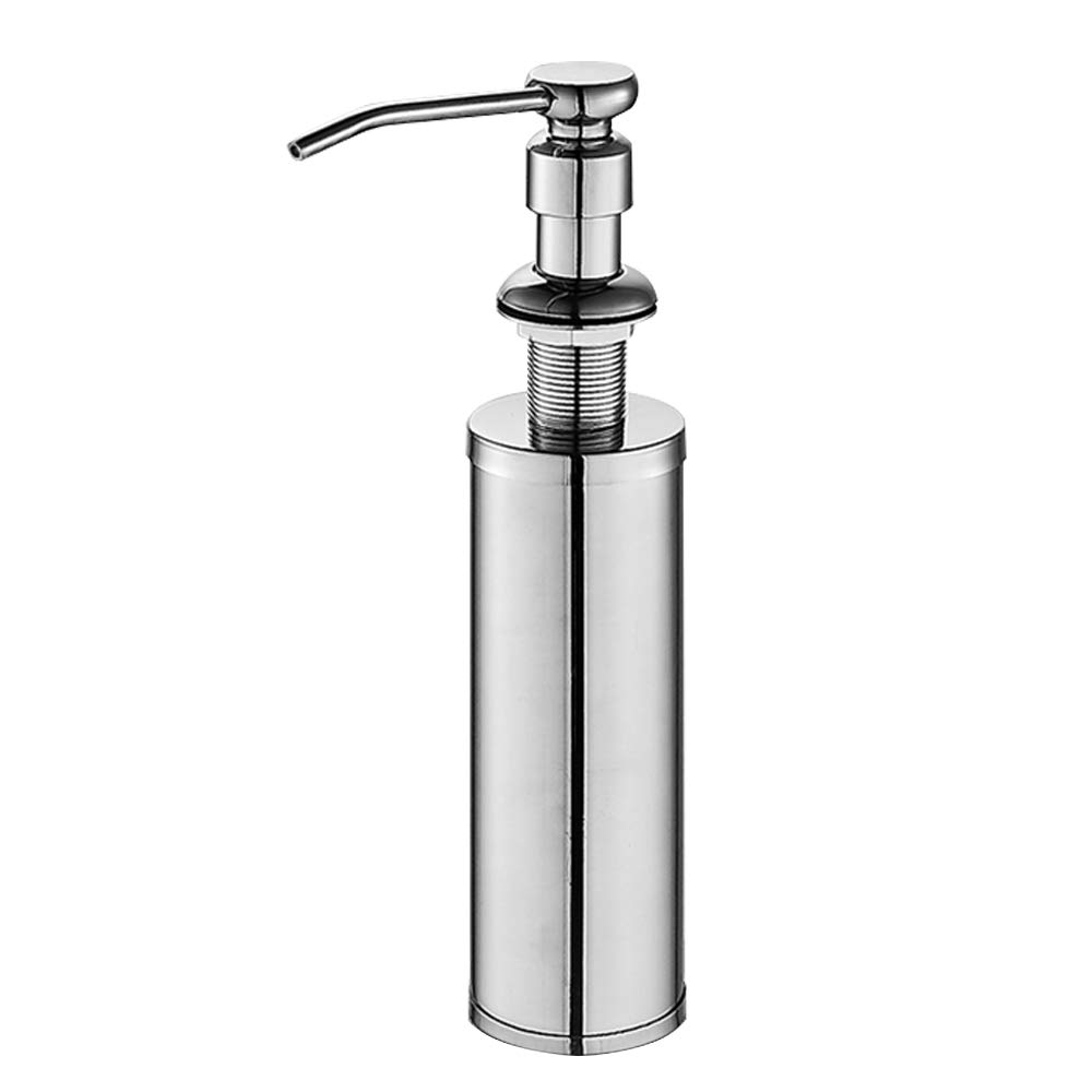 ESOW Kitchen Sink Soap Dispenser, Built in Hand Soap Dispenser Pump in SUS304 Stainless Steel Chrome Finish with High-capacity Metal Bottle, Deck Mount Installation and Refill from the Top Dish