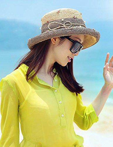 Chapeau de soleil d'été Été féminin chapeau de paille Grandes corniches chapeau de soleil Protecteur solaire Pour les voyages de plage sortants