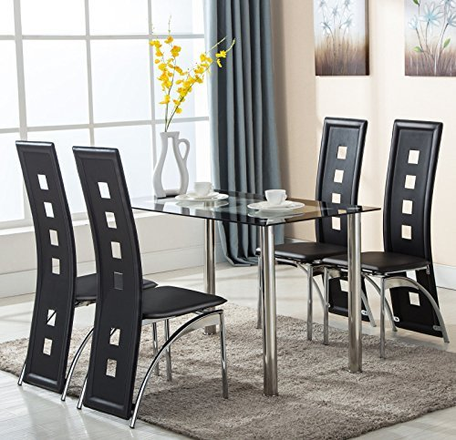 Eight24hours 5 Piece Glass Dining Table Set 4 Leather Chairs Kitchen Room Breakfast - Breakfast Glasses 4