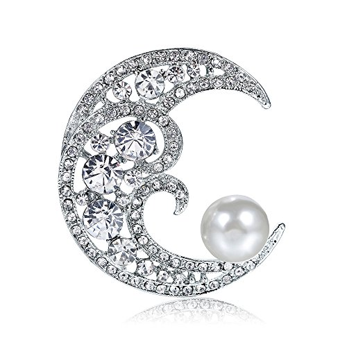 - Dwcly Sparkling Crystal Cresent Moon Big Freshwater Pearl Brooch Pin Wedding Party Banquet Jewelry