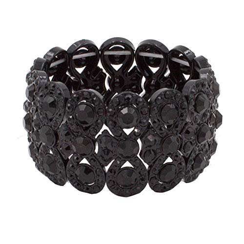 "- Lavencious Infinity Shape Rhinestone Stretch Bracelet Evening Party Jewelry 7"" (Jet Black)"