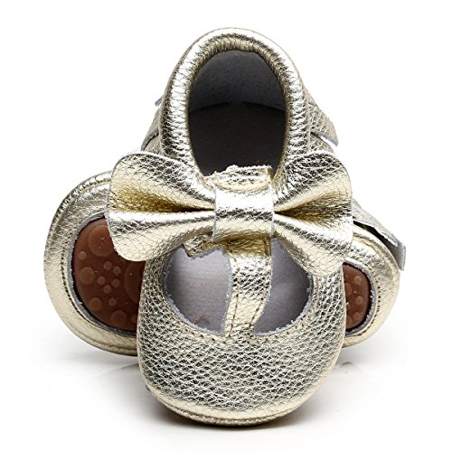 Rubber Sole Bow - Genuine Leather Baby Moccasins Shoes T-bar Rubber Sole Bow Baby Girls Toddler Shoes (12-18M/5.12