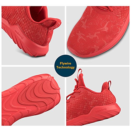 Women's Shoes Cushioning Fabric Trainers Breathable Mesh Up Sports Men's Soulsfeng Lace Red p47na