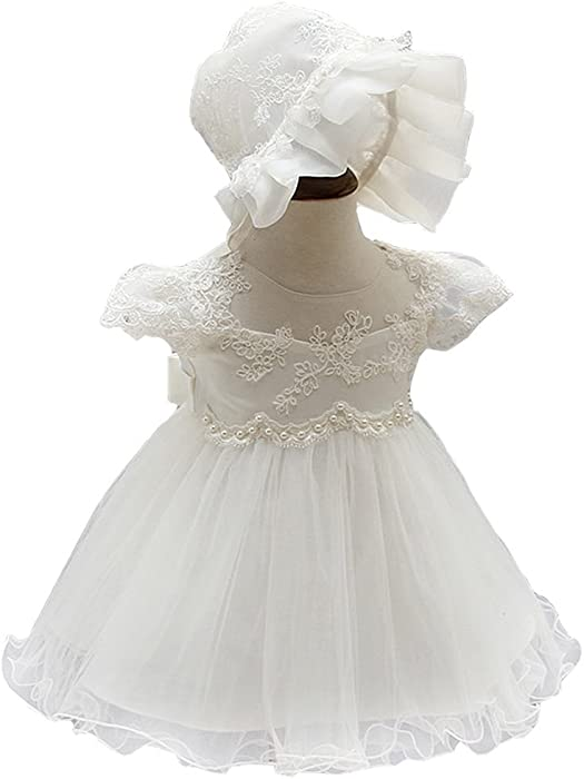200309426 Mini Kitty Baby Girls Dresses Pageant Formal Dress,White,0-6 Months