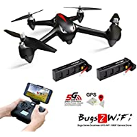 MJX Bugs 2w [2 Batteries Included] 1080P HD 5G Wifi Camera FPV Drone Remote Control Drone With GPS, Altitude Hold, Headless mode,One Key Return (Black)