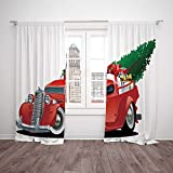 Polyester Window Drapes Kitchen Curtains,Christmas,Vintage American Truck with Large Xmas Tree and Gift Boxes in Pickup Retro Vehicle Decorative,White Red,Living Room Bedroom Kitchen Cafe Window Drape Review