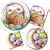 Happy Easter Morning - Plates & Napkins - 8 Guest Party Bundle - 4 Items: Dinner & Dessert Plates, Luncheon & Beverage Napkins