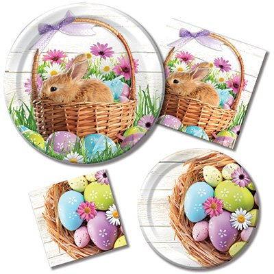 Price comparison product image Happy Easter Morning - Plates & Napkins - 8 Guest Party Bundle - 4 Items: Dinner & Dessert Plates,  Luncheon & Beverage Napkins
