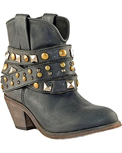 Strap 7 Black Toe Cowboy Round Ankle Black Boot Leather Corral Women's inch Scuffed Studded 5qAwAX