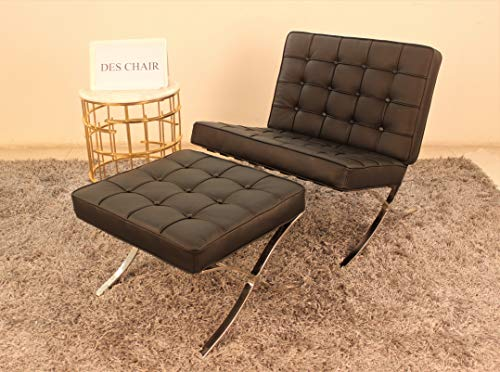 Genuine Leather Barcelona Style Replica Lounge Chair & Ottoman (Set, Black)