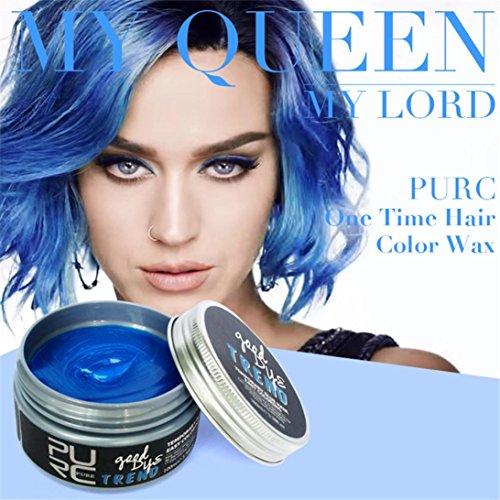 Sinwo NEW DIY Hair Color Dye Hair Clay Wax Mud Dye Cream Grandma Hair Ash Dye Hair Dye Temporary (100ml, Blue)