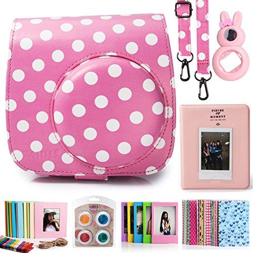 CAIUL Compatible Mini 8 8+ 9 Camera Case Accessories Bundle Kit for Fujifilm Instax Mini 8 8+ 9, Pink Dots (7 Items)