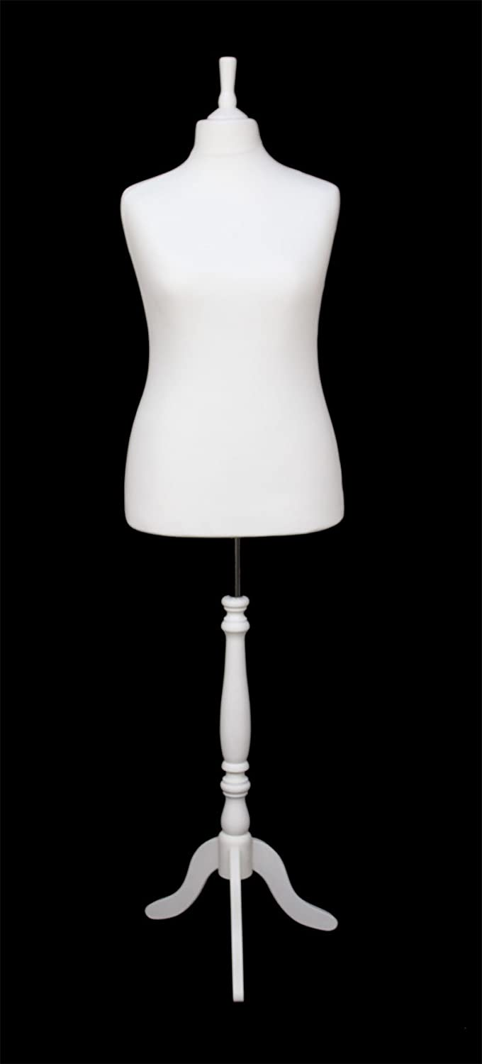 DELUXE Size 18 Female Dressmaking Dummy Tailors Bust Mannequin WHITE Jersey WHITE WOODEN Tripod Stand The Shopfitting SHop