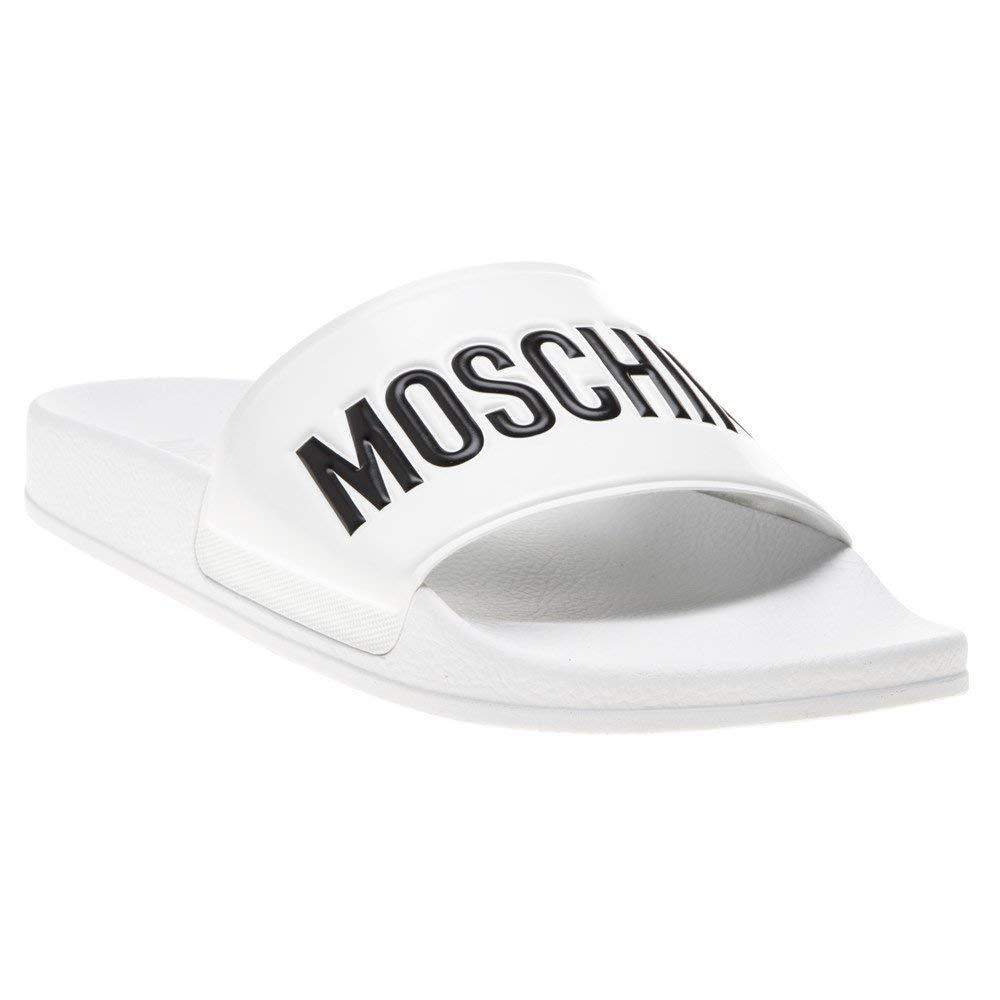 Moschino Logo Pool Slide Mens Sandals White