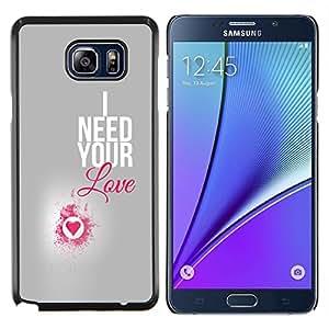 KLONGSHOP // Cubierta de piel con cierre a presión Shell trasero duro de goma Protección Caso - I Need Your Love Pink Heart Plata Texto - Samsung Galaxy Note 5 5th N9200 //