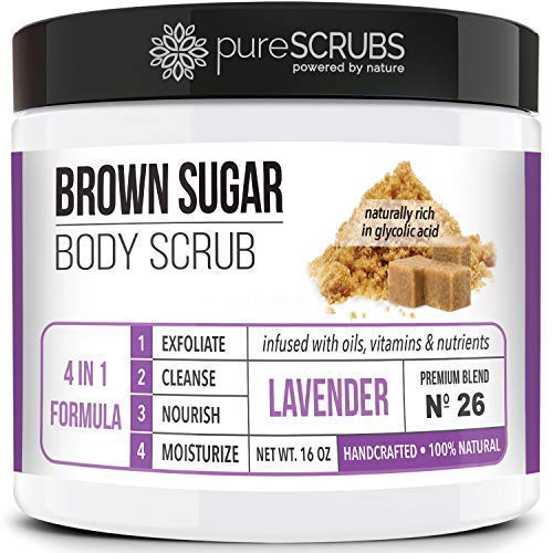 (Premium BROWN SUGAR Body Scrub Exfoliating Set - Large 16oz LAVENDER SCRUB For Face & Body, Infused Organic Essential Oils & Nutrients + FREE Wooden Stirring Spoon, Loofah & Mini Exfoliating Bar Soap)