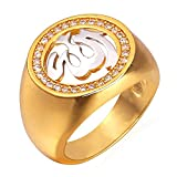 U7 Two-tone Religious Jewelry Cubic Zirconia Inlaid Platinum & 18K Gold Plated Allah Ring (Size 6)