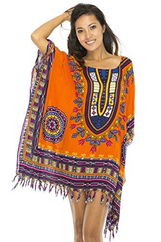 Poncho Ethnic Orange