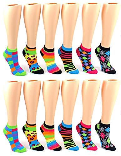 Women's Low Cut Novelty Socks - Neon Pattern - 12 Pair Pack]()