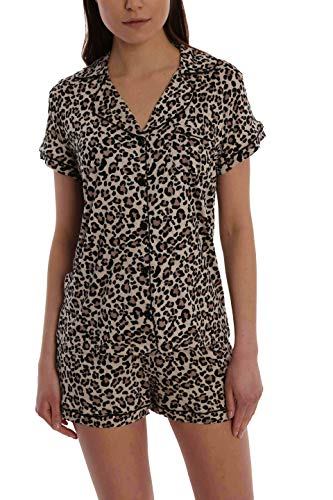 Women's Printed Short Sleeve Button Down Sleep Shirt & Shorts PJ Set - Leopard - X-Large ()