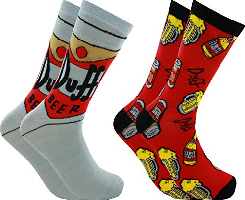 Hyp The Simpsons Duff Beer Men's Crew Socks 2 Pair Pack Shoe Size 6-12 (Beer Simpsons Duff)