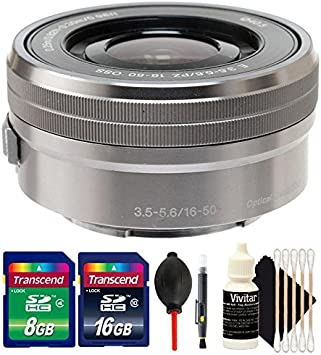 Sony E PZ 16-50mm f//3.5-5.6 OSS Silver Lens Dust Blower Lens Pen 24GB Memory Card 3pc Cleaning Kit