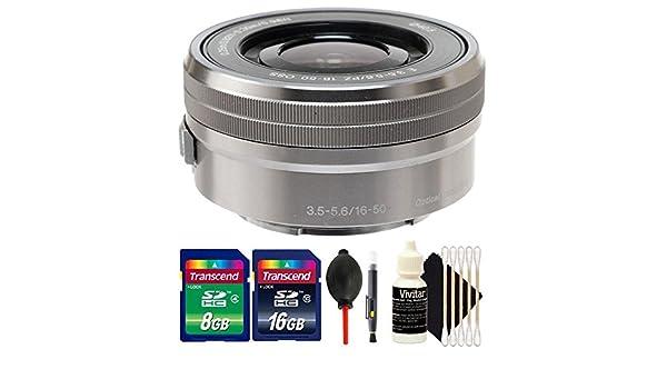 Lens Pen Sony E PZ 16-50mm f//3.5-5.6 OSS Silver Lens Dust Blower 3pc Cleaning Kit 24GB Memory Card