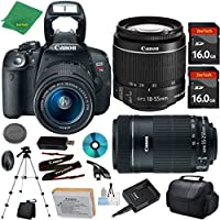 Canon EOS Rebel T5i Camera with 18-55mm IS STM Lens + 55-250mm STM + 2pcs 16GB Memory Card + Camera Case + Card Reader + Tripod + 6pc Starter Set - International Version