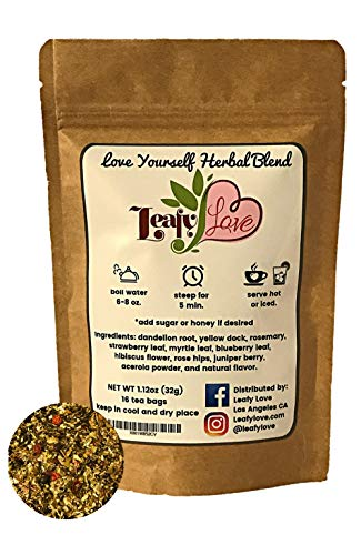 All-Natural Detox Tea - Improve Toxic Gut Support Liver with Anti-Inflammatory Delicious Exotic Herbs Rich in Antioxidants Dandelion Yellow Dock Triple Berry Rosemary -16 Biodegradable Tea Bags ()