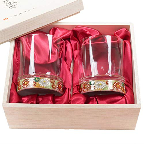 - Set of 2 Japanese Kutani Porcelain & Crystal 9.4oz Rocks Glasses Kutaniwa Glass - Hand-painted Gold Flower Pattern & Gold Flower Pattern [Japanese Crafts Sakura]