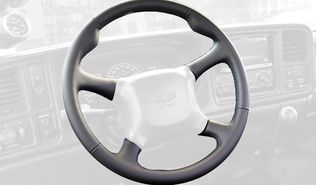RedlineGoods cubierta del Volante (2000-02) Compatible con Chevrolet Tahoe 2000-06. Alcantara Negra Costura Azul