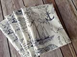 Nautical Map Beach, Blue and White, 12''x12'' Cotton Napkins, Set of 6