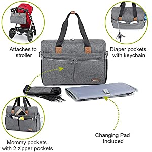 Diaper Bag, RUVALINO Large Travel Diaper Tote Multifunction for Mom and Dad Convertible Baby Bag for Boys and Girls with…