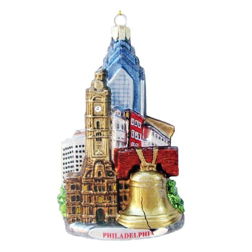 Kurt Adler C4109 Philadelphia Glass Cityscape Ornament, 5-Inch